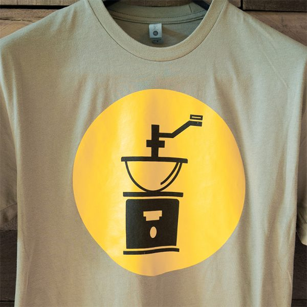 Olive Green T-Shirt with Yellow Logo Icon | The Grind Coffee Roasters
